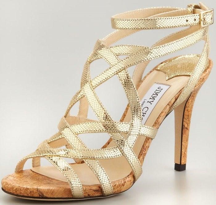 Jimmy Choo 'Deeta' Metallic Strappy Cork Platform Sandals