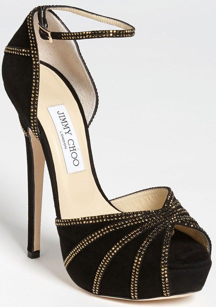 Jimmy Choo Kalpa Sandals in Black and Gold