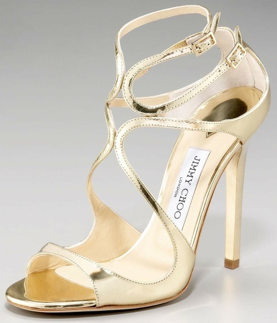 Jimmy Choo 'Lance' Gleaming Mirrored Leather Sandals
