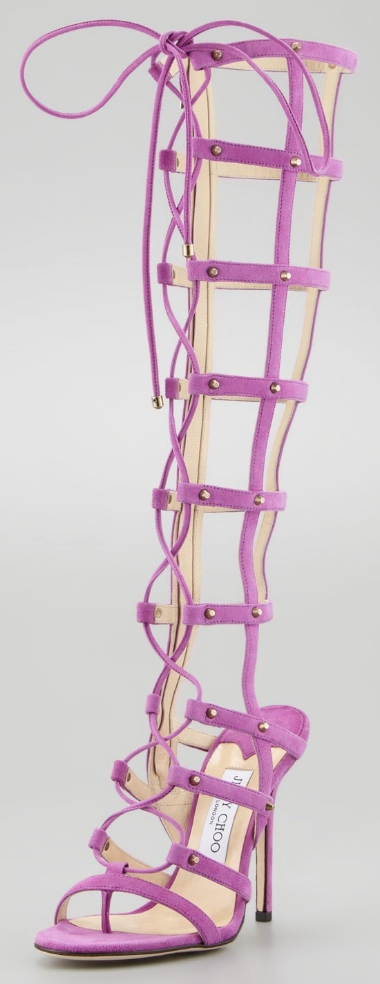 Jimmy Choo Mogul Tall Cage Gladiator Boot, Orchid