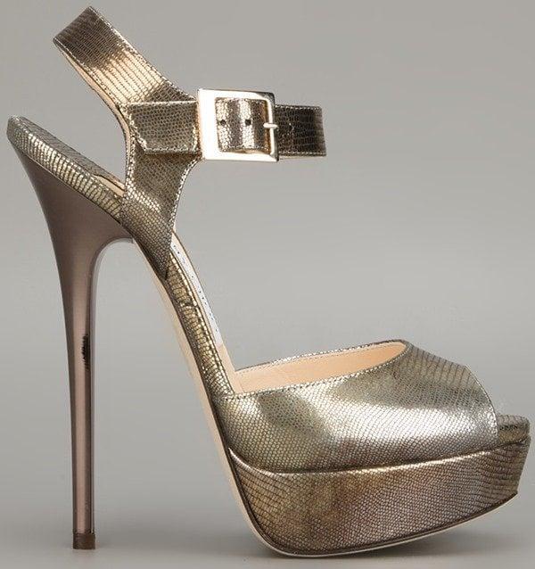 Jimmy Choo Raven Sandals in Gold Side