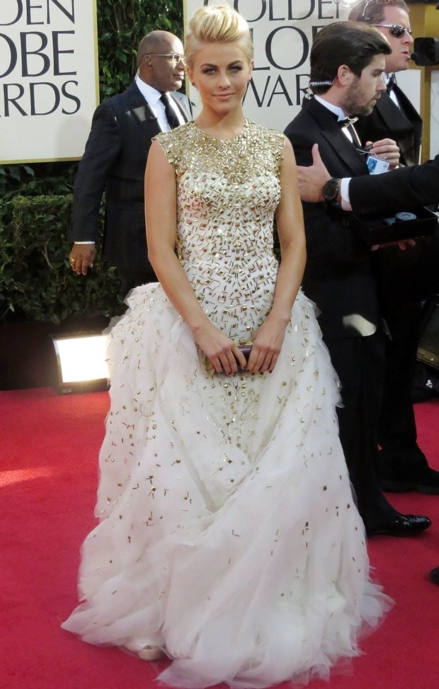 Julianne Hough in a white-and-gold gown at the 70th Annual Golden Globe Awards