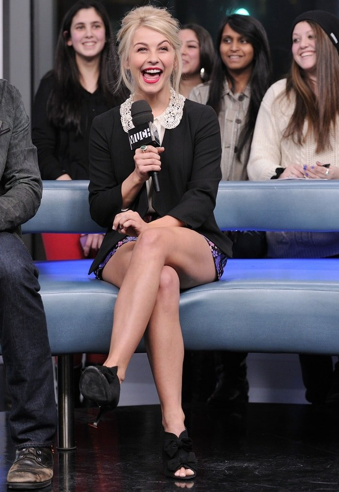 Julianne Hough wearing Asos shorts and blouse for an interview on New.Music.Live at MuchMusic Headquarters on January 21, 2013 in Toronto, Canada