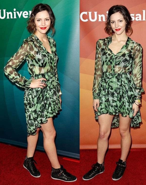 Katharine McPhee ina green high-low-hem semi-sheer dress