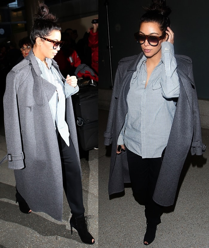 Pregnant Kim Kardashian swaps her curve-flaunting fashion sense for a more menswear-inspired style