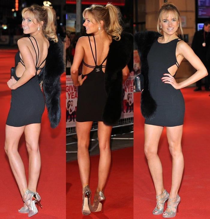 "Kimberley Garner wearing a very tight and skin-baring Chanel dress at the UK Premiere of ""I Give It A Year"" at the Vue West End on January 24, 2013 in London, England"