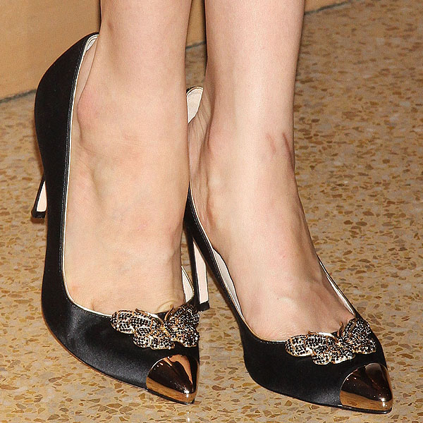 Maggie Grace wearing butterfly cap toe satin pumps