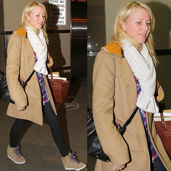 Here's another wedge sneaker look we love on Naomi Watts