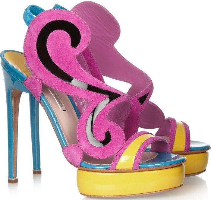 Nicholas Kirkwood Suede Swirl Colorblock Sandals