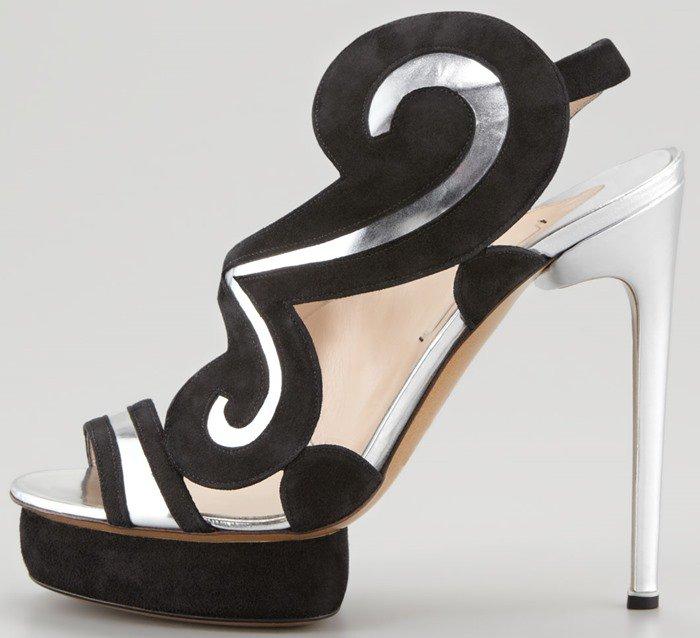 Nicholas Kirkwood Suede 'Swirl' Metallic Sandal