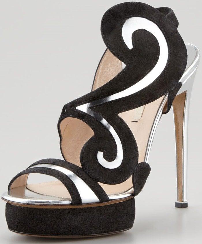 Nicholas Kirkwood Suede 'Swirl' Metallic Sandals