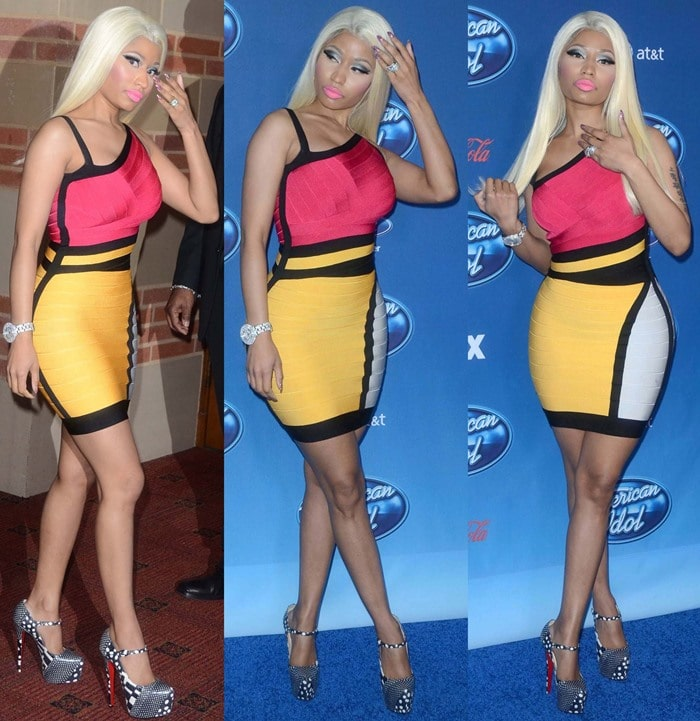 Nicki Minaj wearing a color-blocked Herve Leger bandage dress at the American Idol Season 12 premiere held at Royce Hall at University of California Los Angeles, in Los Angeles, California, on January 9, 2013