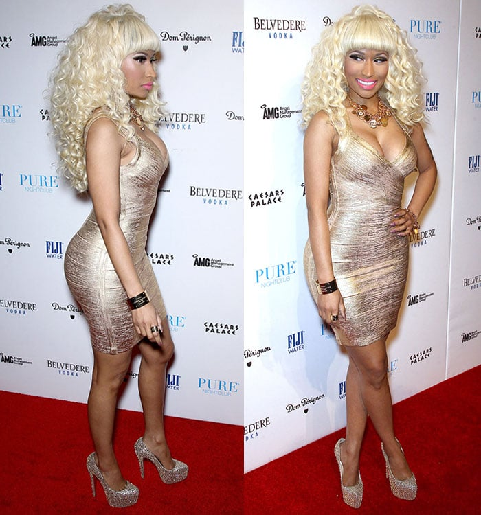 Nicki Minaj flaunts her legs in a gorgeous Herve Leger dress with gold Louboutin pumps