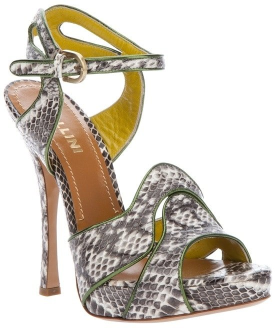 Pollini Python Skin Sandals
