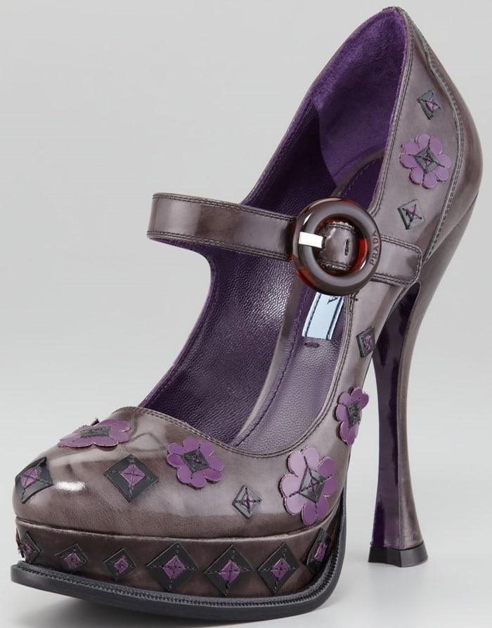 Prada Flower Ankle-Strap Pump