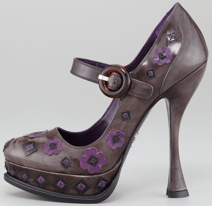 Prada Flower Ankle-Strap Pumps