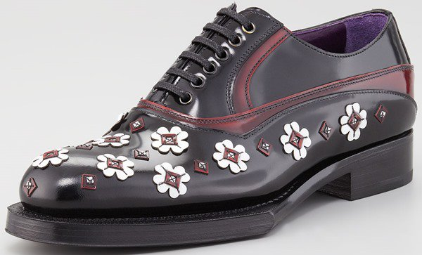 Prada Flower-Applique Spazzolato Oxford