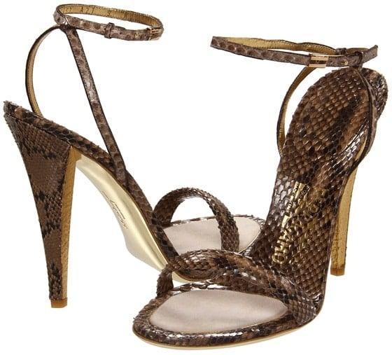 Salvatore Ferragamo 'Blejan' Sandals in Khaki Python