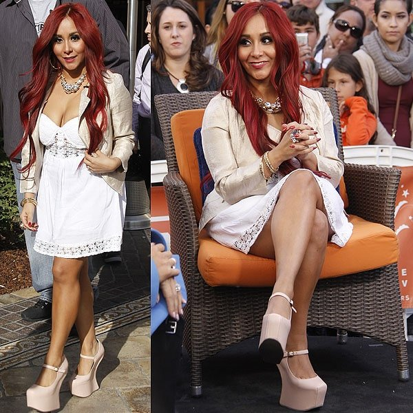 Snooki on entertainment news show Extra at The Grove in Los Angeles, California on January 7, 2013