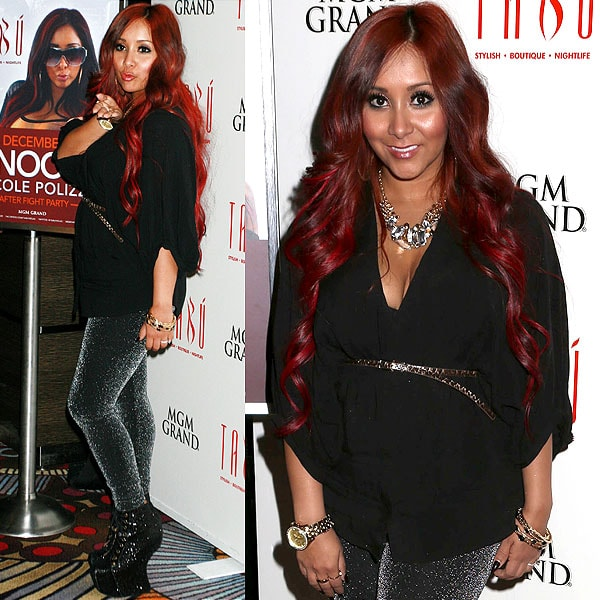 """Nicole """"Snooki"""" Polizzi hosting a post-fight party at the Tabu Ultra Lounge in Las Vegas on December 8, 2012"""