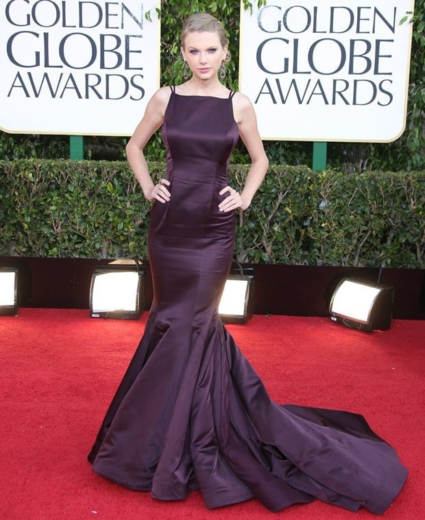 Taylor Swift in a Donna Karan Atelier gown at the 70th Annual Golden Globe Awards