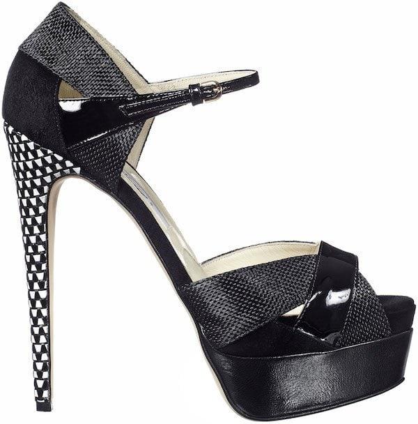 "Brian Atwood ""Aida"" Sandals in Black Raffia"