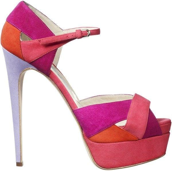 "Brian Atwood ""Aida"" Sandals in Multicolor Suede"