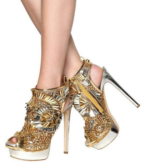 DSQUARED Laminated Leather Beaded Sandals in Gold
