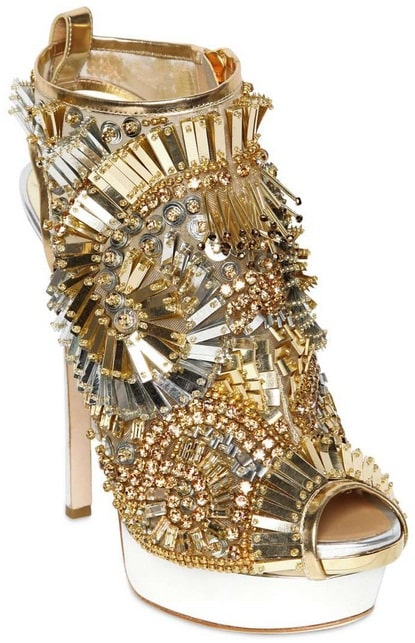 Dsquared² Laminated Leather Beaded Sandals in Gold