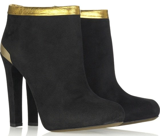 Gold-Trimmed Fendi Suede Ankle Boots