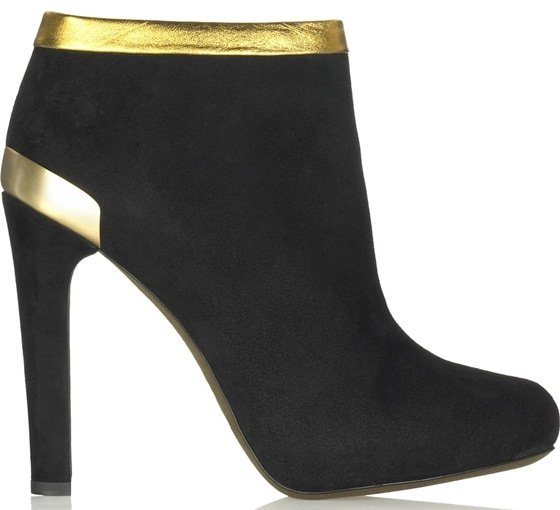 Fendi suede ankle boots with gold trim