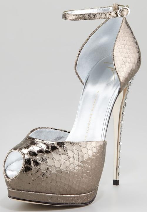 giuseppe zanotti metallic snake print ankle strap