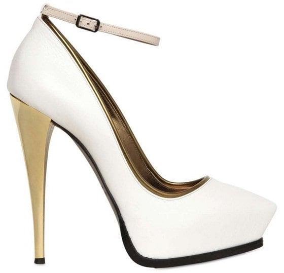 lanvin mirror heel ankle strap pumps