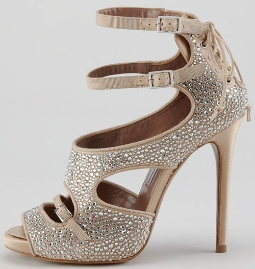Tabitha Simmons Crystal-Covered 'Bailey' Sandals in Nude