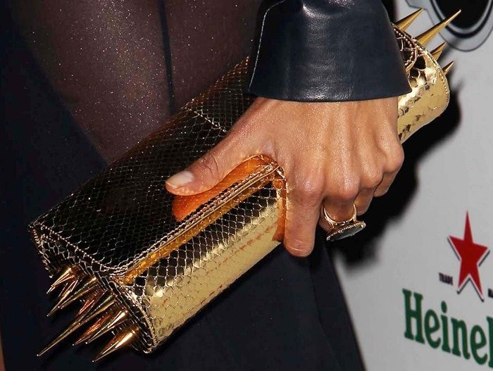 Alessandra Ambrosio totinga studded gold Christian Louboutin clutch