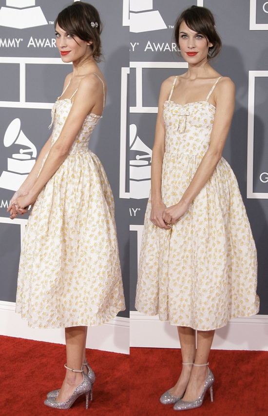Alexa Chung in a daisy-printed Valentino Red tea-length dress at the 55th Annual Grammy Awards