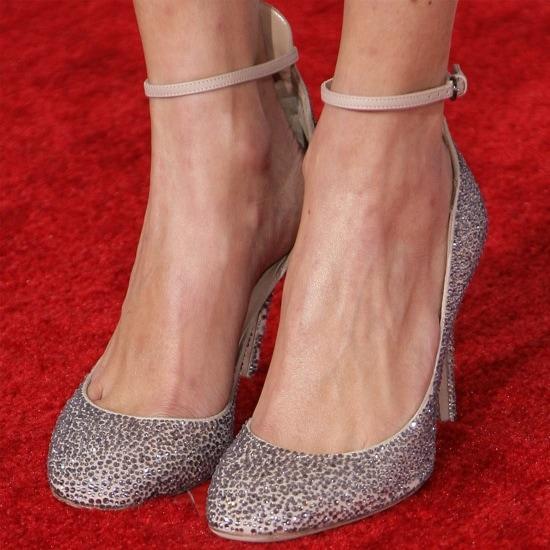 Alexa Chung wearing Valentino crystal covered pumps