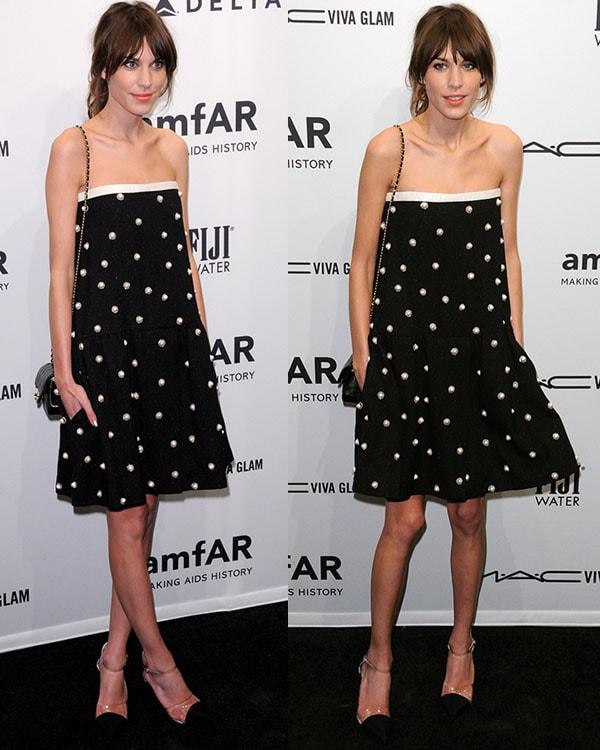 Alexa Chung at the amfAR gala held at Cipriani Wall Street