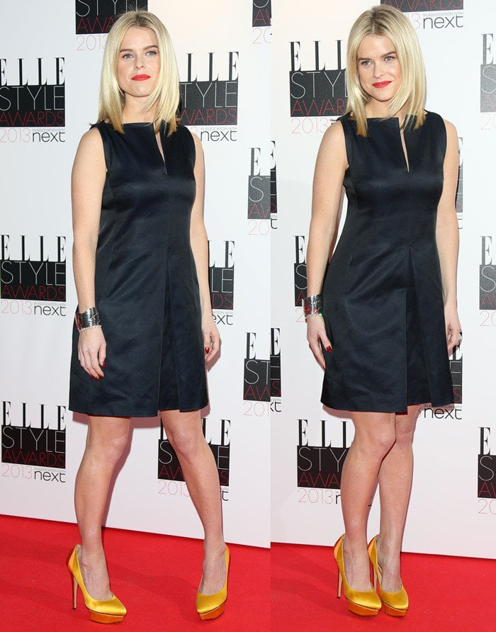 Alice Eve flashed her legs in Charlotte Olympia's Masako heels