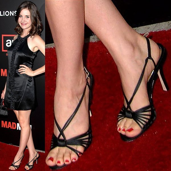 Alison Brie showing off her feet at the premiere of the second season of 'Mad Men'