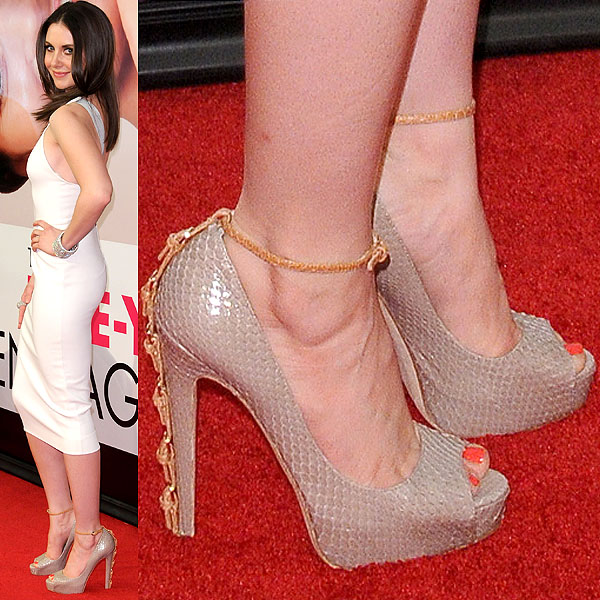 Alison Brie showing off her feet at the Tribeca Film Festival