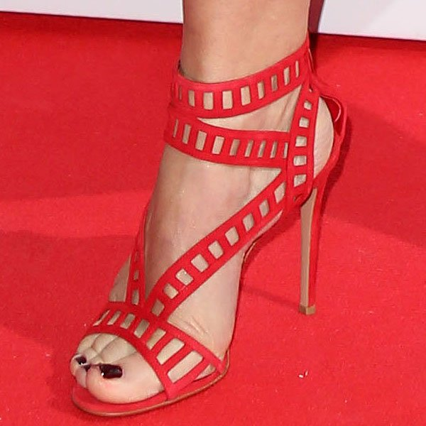 Amanda de Cadenet red suede cutout sandals