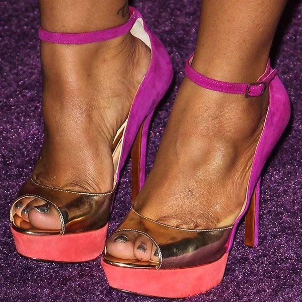 Amber Riley suede and metallic leather ankle strap sandals