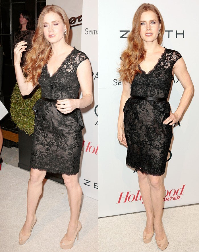 Amy Adams styled her black lace dress with nude high heels that elongated her legs