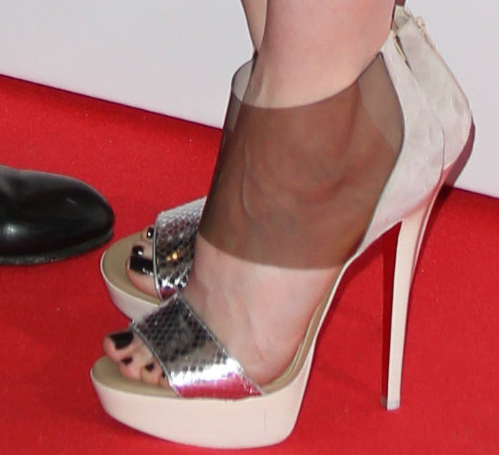 Andrea Louise Riseborough shows off her feet in Christian Louboutin heels