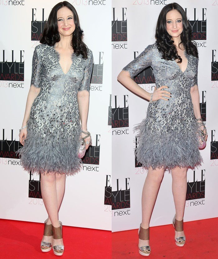 Andrea Louise Riseborough flaunted her legs in a pewter mirror lace dress from Matthew Williamson