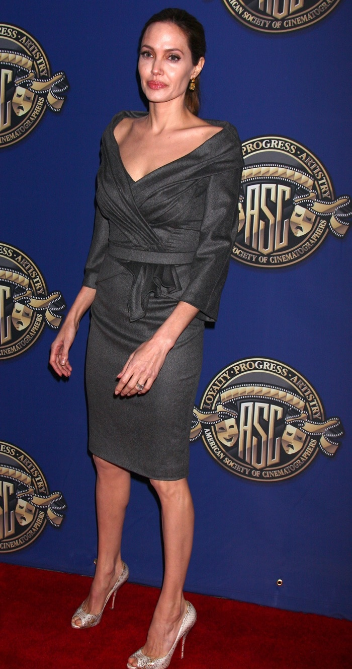 Angelina Jolie in a belted Versace dress and peep-toe pumps from Christian Louboutin