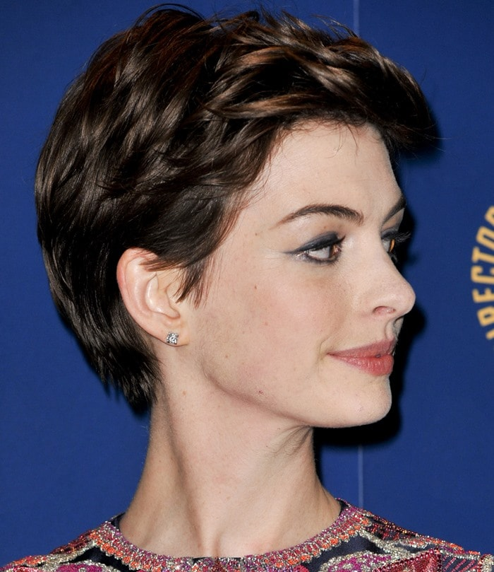Anne Hathaway at the 65th Annual Directors Guild of America Awards (DAG) at Ray Dolby Ballroom in Los Angeles on February 2, 2013