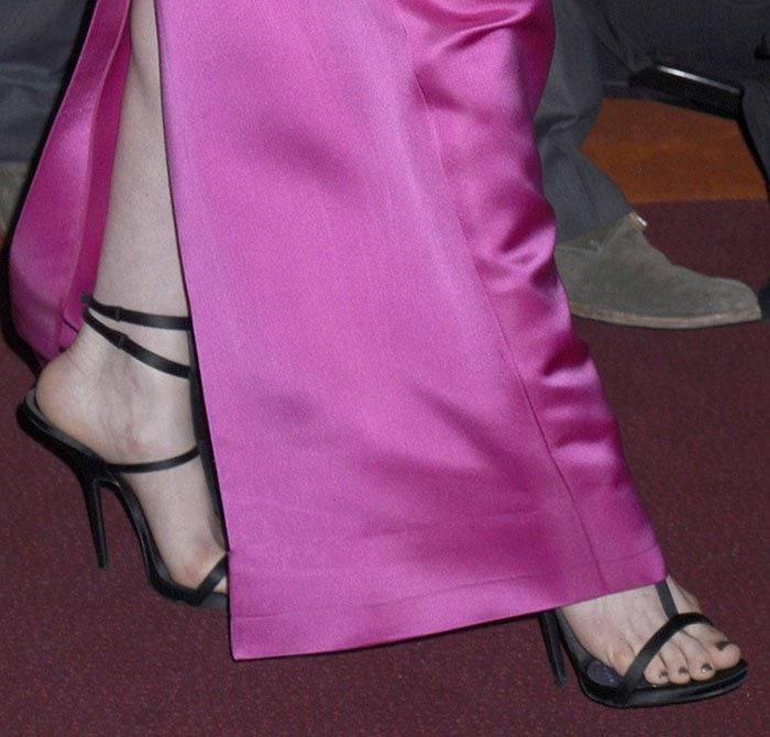 Anne Hathaway In Prada And Custom Giuseppe Zanotti Vegan