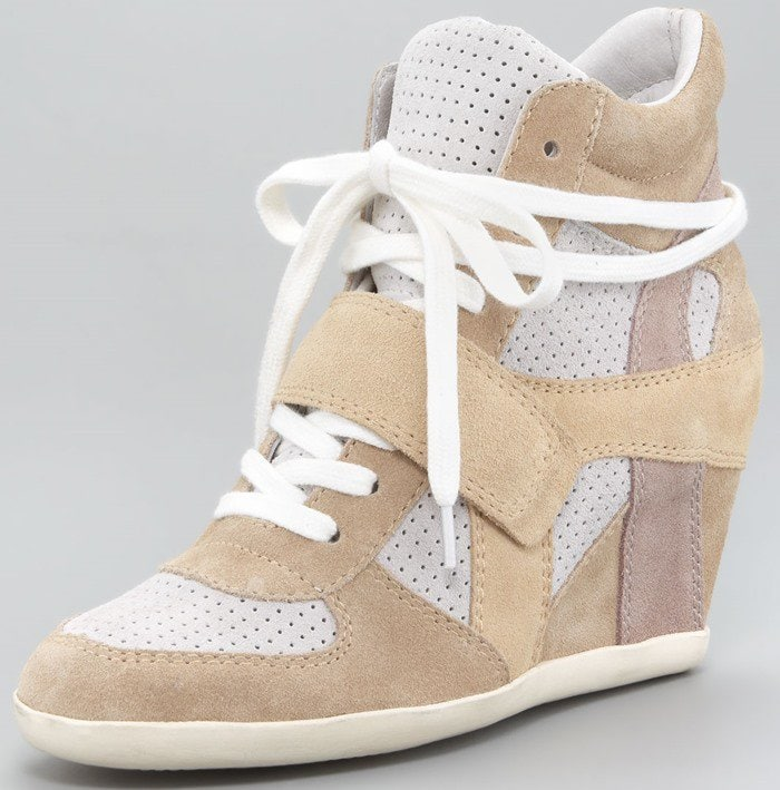 Ash Suede Wedge Sneakers in Sand
